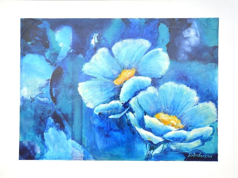 BLUE CRUSH – 1200 X 1000 acrylic on canvas – framed in white box frame $1000.00 - Artist: Dawn Anderson