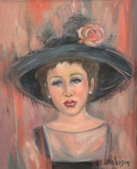 GIRL WITH HAT 2 - 760 x 610 oil on canvas. Framed with white box frame - $600.00 - Artist: Dawn Anderson