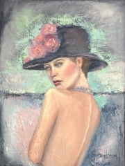Lady with hat 1020 x 770 oil on canvas – framed in white box frame - $995.00 - Artist: Dawn Anderson
