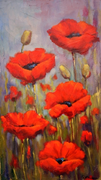 POPPY STUDY 1 - 700w x 1200h x 40d - Acrylic Paint on Canvas $930 - Artist: Dawn Anderson