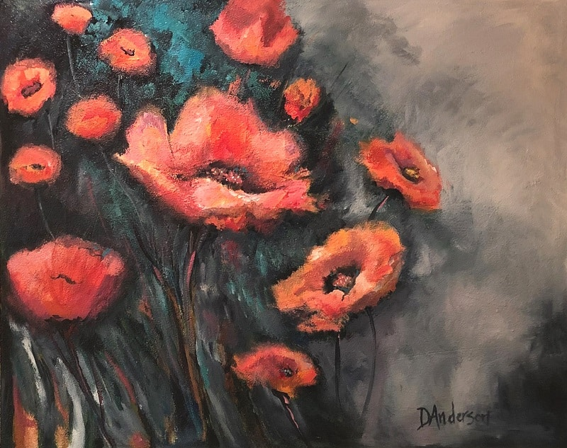 POPPY SUNRISE – 1200 X 1000 Acrylic on canvas – framed in white box frame - $1000.00 - Artist: Dawn Anderson