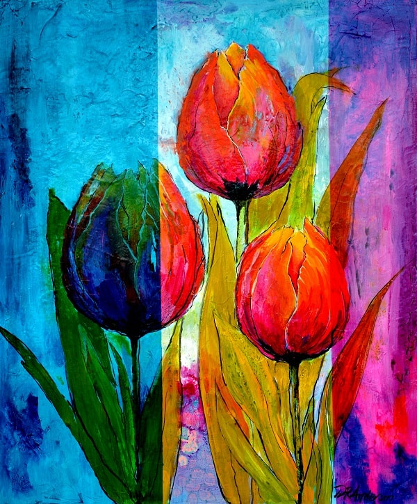 TALL TULIPS - 1000w x 1200h x 40d - Acrylic Paint on Canvas $970 - Artist: Dawn Anderson
