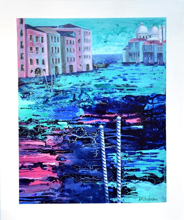 VENETIAN TWILIGHT - Acryic Painted Canvas - 1000(w) x 1200(h) x 40(d). $1070 - Artist: Dawn Anderson